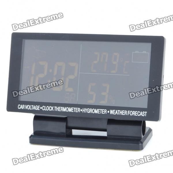 "4.6"" LCD Car Cigarette Lighter Powered Digital Clock + Voltage + Thermometer + Hygrometer"