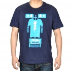 The Big Bang Theory Series SHEL-BOT Pattern Cotton T-Shirt - Dark Blue (Size-M)