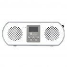 "1.0"" LED USB Rechargeable MP3 Player Speakers w/ FM/AUX/USB/SD Slot - White"