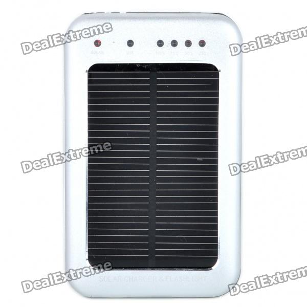 Solar Powered Rechargeable 2600mAh Portable Power Pack w/ 3-LED White Light & Charging Adapters