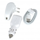 3-in-1 AC Adapter Charger + Car Charger + USB Cable for iPhone 4/3G/3GS - White