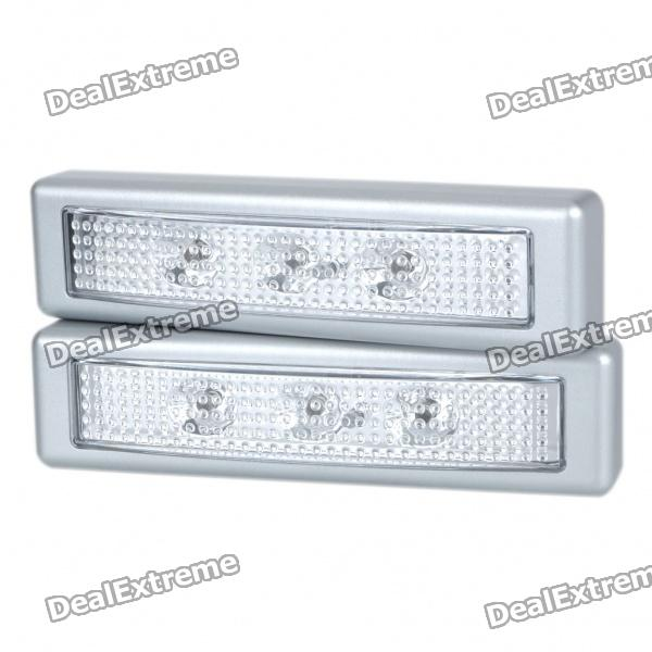 Stylish Ultra Bright White 3-LED Push Light - 1 Pair (3xAAA)