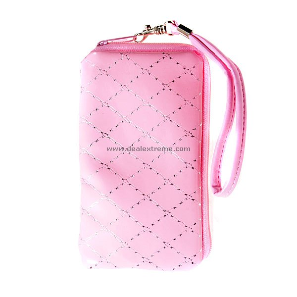 Cute Pink Zipper-top Leather Case with Wrist Strap