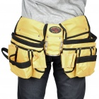 Double Pouch Pocket Tool Belt Bag with Hammer Holder - Yellow