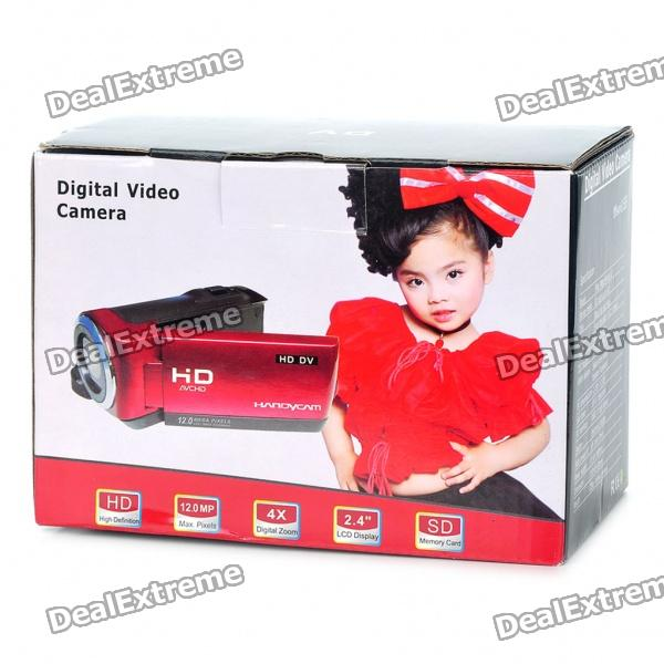 "5MP Digital Video Camcorder w/ 4X Digital Zoom/White LED Light/AV-Out/SD - Red (2.4"" LTPS LCD)"