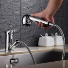 Chromed Copper Pull-Out Spray Kitchen Sink Faucet - Silver
