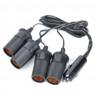 4-Way Car Cigarette Lighter Socket Splitter - Black (12V)