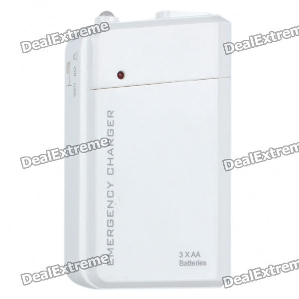 3xAA Batteries Emergency Charger with White LED Light for Iphone 4 / 4S/Ipod - White