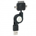 Retractable USB to 30 Pin/Mini USB/Micro USB Charging/Data Cable
