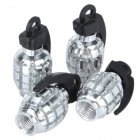 Universal Cool Grenade Shaped Car Tire Valve Caps - Silver (4-Piece Pack)