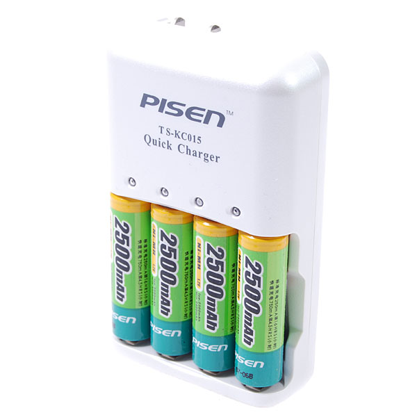 Pisen Battery AC Charger and Rechargeable Ni-MH AA Batteries Kit (2500mAh)