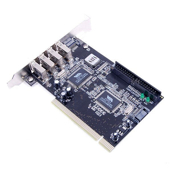 VIA Chipset SATA + IDE + 4 x USB I/O Port Extension PCI Controller Card