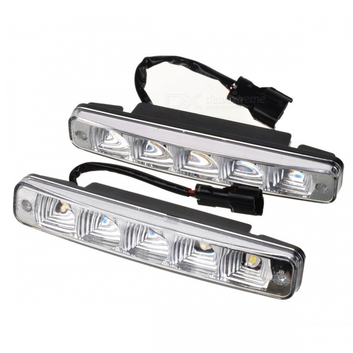 High Power Waterproof White 5W 5-LED 400-Lumen Daytime Running Lamp/Lights for Car (Pair/12V) for mazda 6 2005 2006 2007 2008 2009 led car drl daytime running light daylight waterproof fog lamp fog run external lights 2pcs