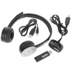 Rapoo H8000 2.4GHz USB Rechargeable Wireless Headphone with Microphone (Black)