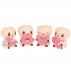Cute Love Style Pig Figure Toy Set Desk Doll (4-Piece Pack)