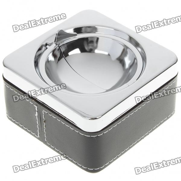 Stainless Steel Ashtray with Leather Cover - Black + Silver ashtray