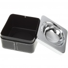Stainless Steel Ashtray with Leather Cover - Black + Silver