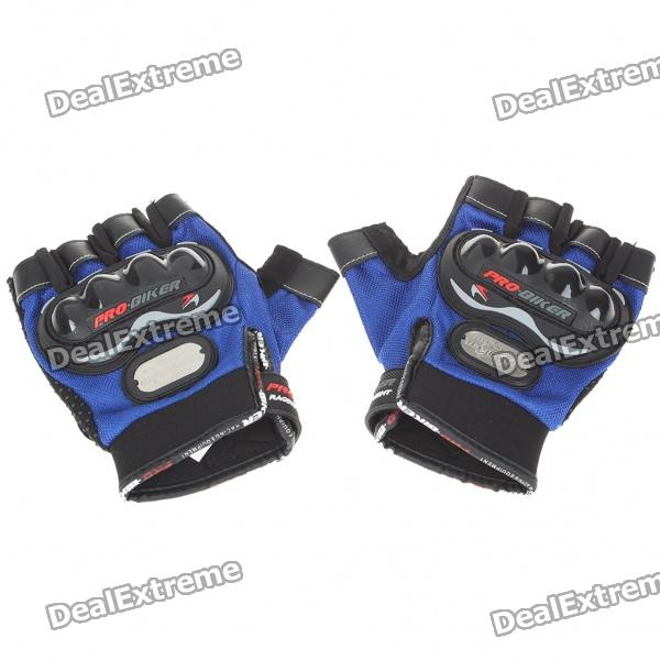 Stylish Half-Finger Racing Gloves - Blue (Size L/Pair)