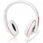 PC/Laptop Stereo Headphone with Microphone & Volume Control - White + Red (3.5mm Jack/2M Cable)