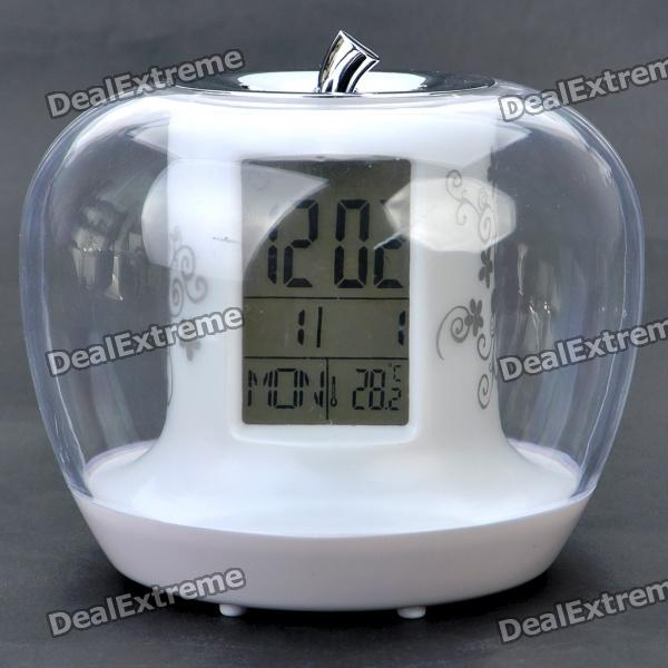 "Apple Shaped 2.0"" LCD RGB Backlight Alarm Clock + Thermometer + Timer + Nature Sounds (3 x AAA)"