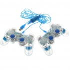 USB 2.0 Dual-Shock Controller Joypad Gamepad for PC Game (Transparent Blue)