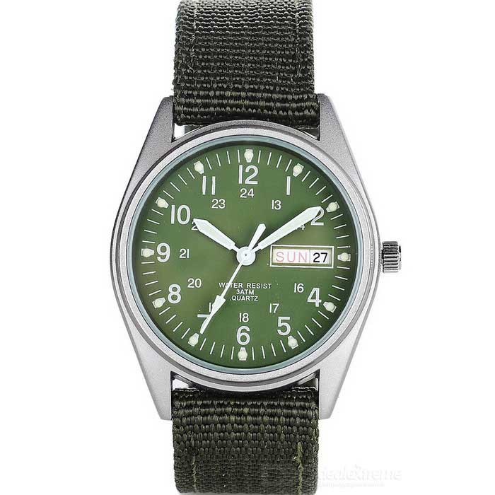 Military Glow-in-the Dark Water Resistant Quartz Wrist Watch - Army Green (1 x SR626SW)