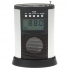 "1.8"" LCD Mini USB Rechargeable MP3 Music Stereo Speaker with FM/SD/MMC/USB - Silver + Black"