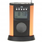 "1.8"" LCD Mini USB Rechargeable MP3 Music Stereo Speaker with FM/SD/MMC/USB - Orange + Black"