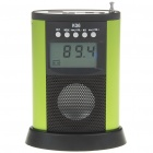 "1.8"" LCD Mini USB Rechargeable MP3 Music Speaker with FM/SD/MMC/USB - Green + Black"