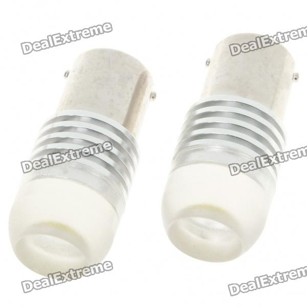 1156 2W 250-Lumen Car Brake/Turning Signal White Light Bulbs with Optical Lens (Pair/DC 12V) s25 2w 180lm red led car brake turning reverse light bulbs pair dc 12v