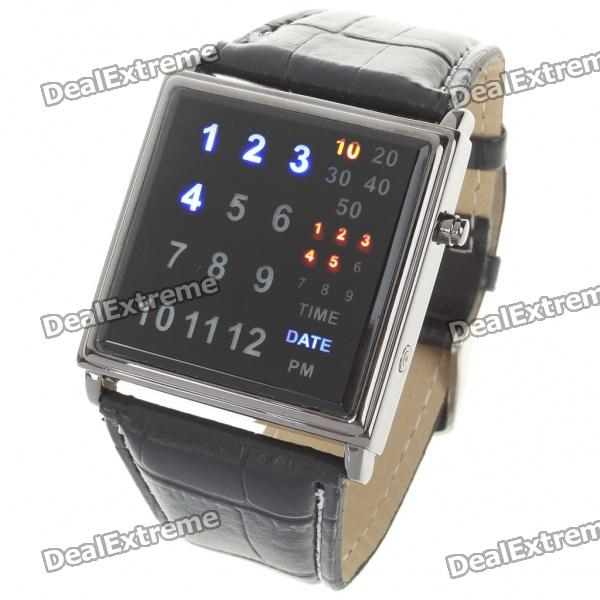 Stylish Digital 29-LED Wrist Watch with PU Leather Watchband (2 x CR2016)