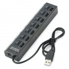 USB 2.0 High Speed 7-Port HUB with Independent Switch - Black