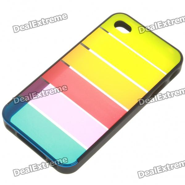 Charming Rainbow Protective Back Case for Iphone 4 - Black