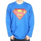 The Big Bang Theory Series Superman Logo Cotton Long Sleeve T-shirt - Blue (Size XXL)