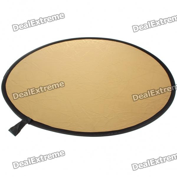 Collapsible Large Flash Reflector Board - Golden + Silver (80CM- Diameter)