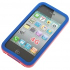 Silicone Back Case + Bumper Frame + Screen Guard + Cleaning Cloth for iPhone 4 - Blue + Red