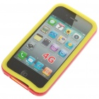 Silicone Back Case + Bumper Frame + Screen Guard + Cleaning Cloth for iPhone 4 - Yellow + Red