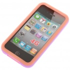 Silicone Back Case + Bumper Frame + Screen Guard + Cleaning Cloth for iPhone 4 - Orange + Purple
