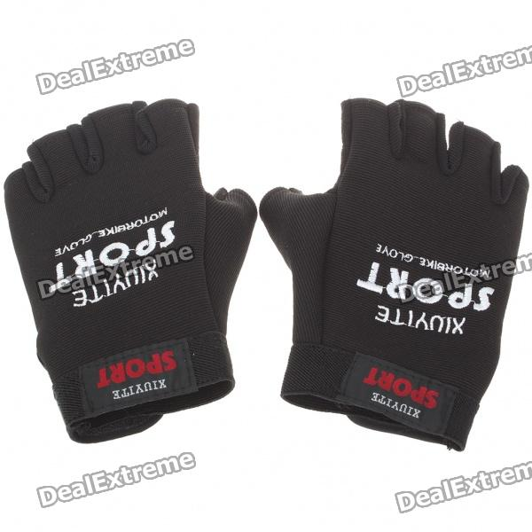 Sporty Half-Finger Gloves - Black (Pair/Size L) pro biker mcs 04 motorcycle racing half finger protective gloves red black size m pair