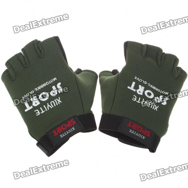 Sporty Half-Finger Gloves - Black + Army Green (Pair/Size L)