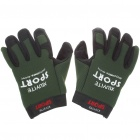 Anti-Slip Velvet Cloth Sporty Full-Finger Gloves - Green + Black (Size M/Pair)