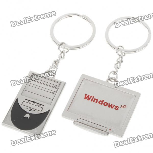 Zinc Alloy Lovers Keychains (Host Computer & Display Screen / 2-Piece Set)