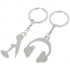 Zinc Alloy Lovers Keychains (Microphone & Headset / 2-Piece Set)