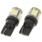 T10 1.5W 95LM 5x5050 SMD LED 2-Mode White Light Car Turning Signal Light Bulbs (Pair)