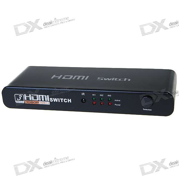 HDMI 3-Port Powered Digital Switch with IR Remote Controller