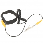 Anti-Static Retractable Wrist Strap Band with Clamp - Black