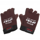 Anti-Slip Velvet Cloth Sporty Half-Finger Gloves - Dark Red (Size L/Pair)