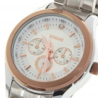 Fashion Stainless Steel Waterproof Quartz Wrist Watch - Gold + Silver (1 x 626)