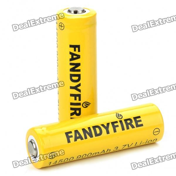 14500 Rechargeable 3.7V 900mAh Li-ion Batteries - Yellow (Pair)