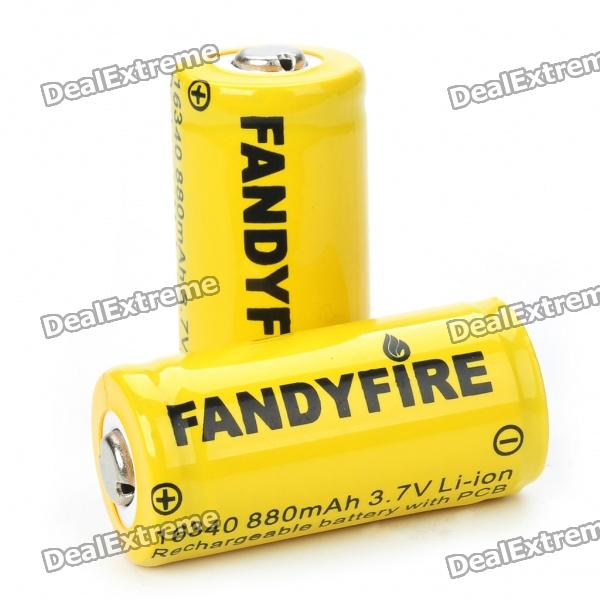 все цены на Protected 16340 Rechargeable 3.7V 880mAh Li-ion Batteries - Yellow (Pair)